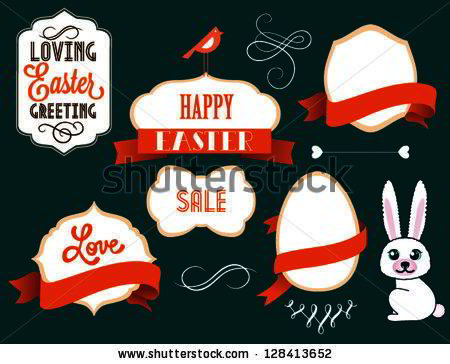 Easter card with many graphical Easter elements. Easter eggs, flowers, labels, animals. Loving Easter greeting.