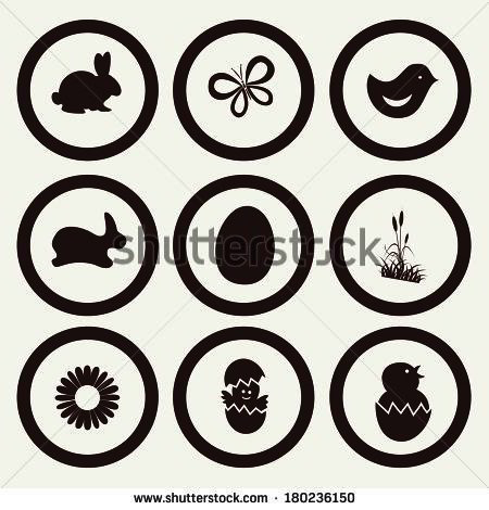 Easter Icon Symbol collection vector, grouped for easy editing. Illustration.