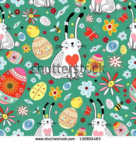 floral texture Easter bunnies and chicks