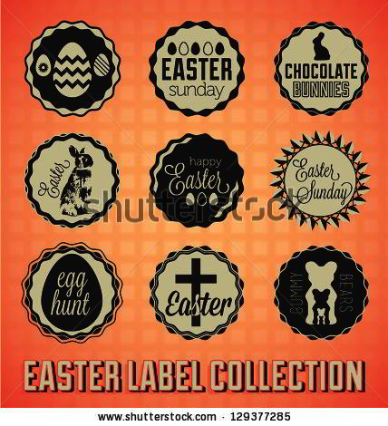 set easter sunday labels and icons