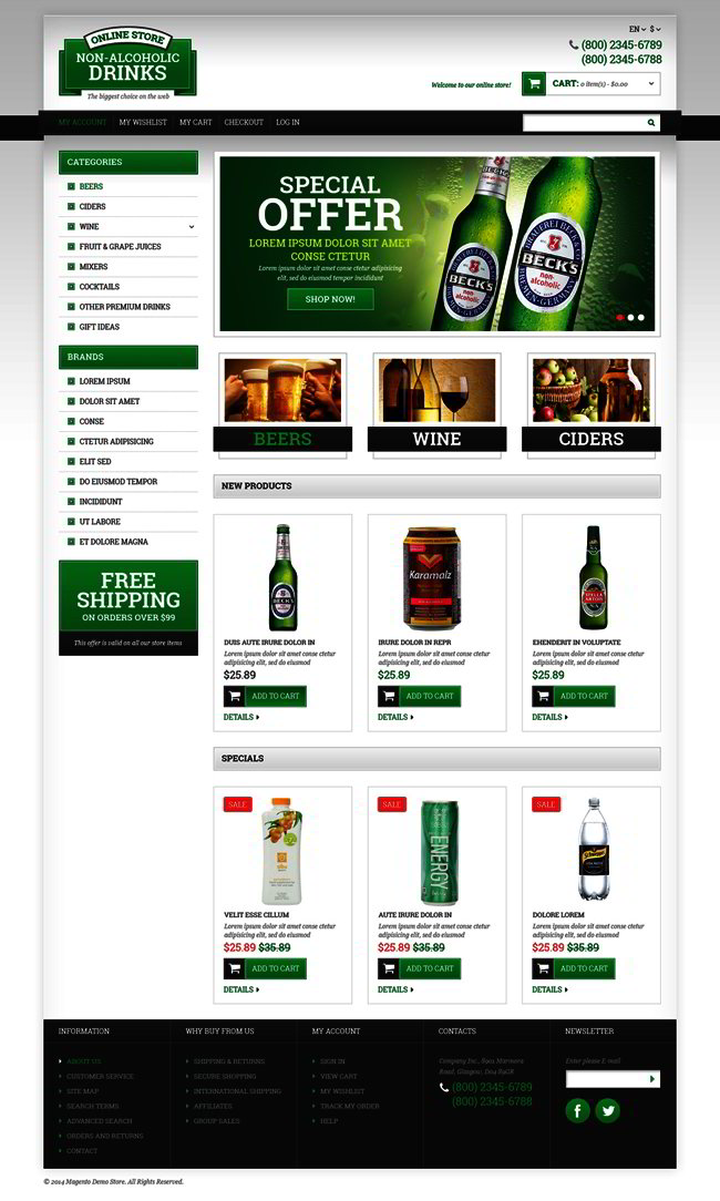 Food and Drink Responsive Magento Theme