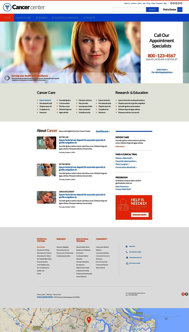 Cancer Center Website Template