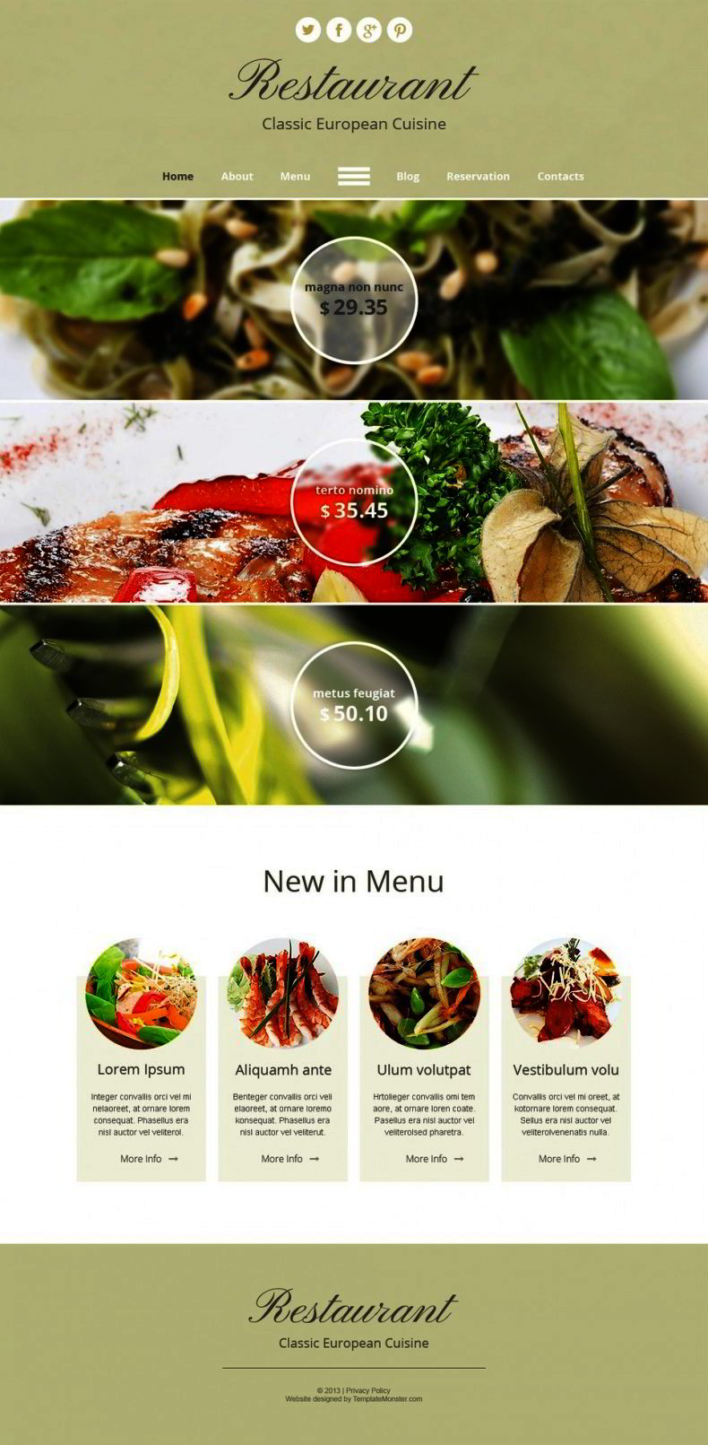 Free Html Template For Restaurant Online Presence Website Templates